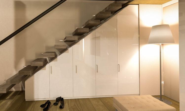 Einbauschrank Flur unter Treppe