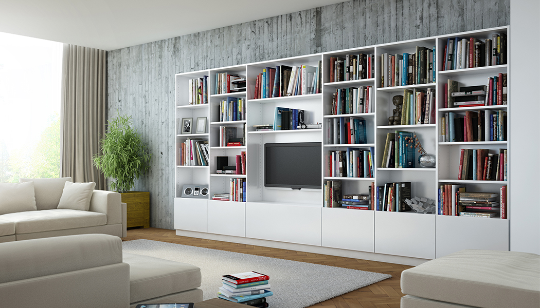 bibliotheken nach mass planen wohnzimmer meine m belmanufaktur. Black Bedroom Furniture Sets. Home Design Ideas
