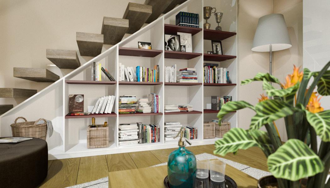 buecherregal unter der dachschraege treppe meine. Black Bedroom Furniture Sets. Home Design Ideas