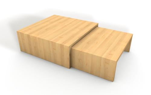 Couchtisch aus Massivholz zwei-teilig