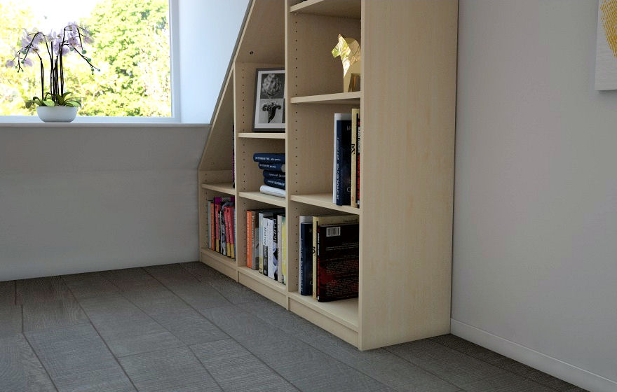 dachschr genregal in ahorn meine m belmanufaktur. Black Bedroom Furniture Sets. Home Design Ideas