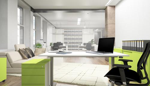 Design Schreibtisch höhenverstellbar in Limonengrün