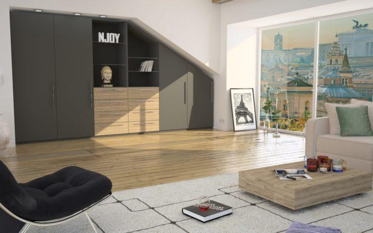 Wohnzimmer Einbauschrank mit Schräge in grau