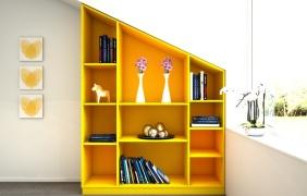 dachschr genregal in gelb meine m belmanufaktur. Black Bedroom Furniture Sets. Home Design Ideas