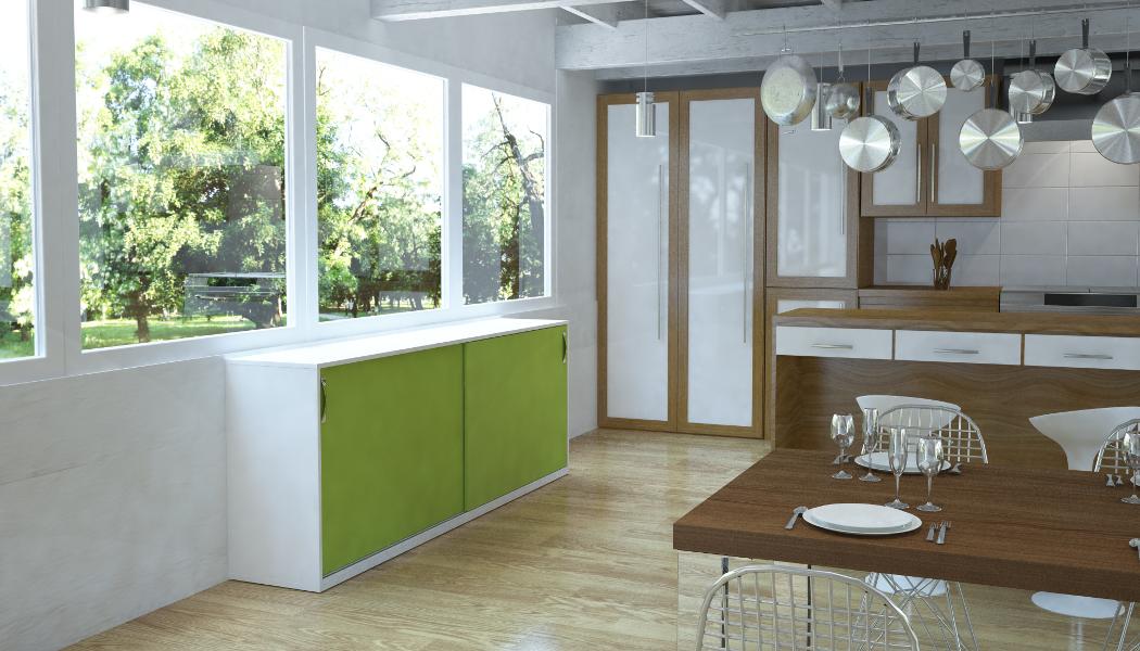 Küchenschrank mit Schiebetüren in Limonengrün | meine möbelmanufaktur