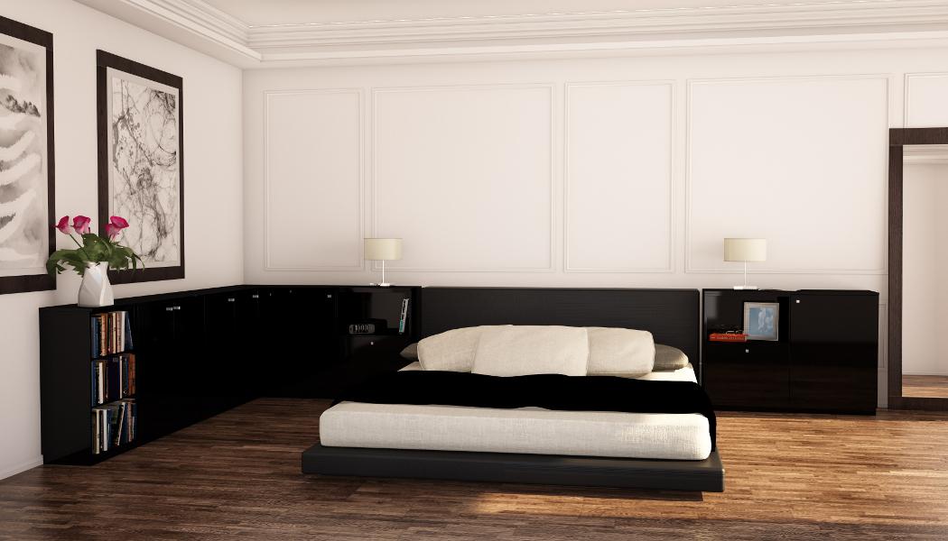 Lowboard nach Maß in Schwarz im Schlafzimmer | meine möbelmanufaktur