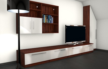 moderne wohnwand mit materialmix meine m belmanufaktur. Black Bedroom Furniture Sets. Home Design Ideas