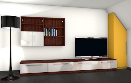 Moderne wohnwand mit materialmix meine m belmanufaktur for Wohnwand konfigurieren