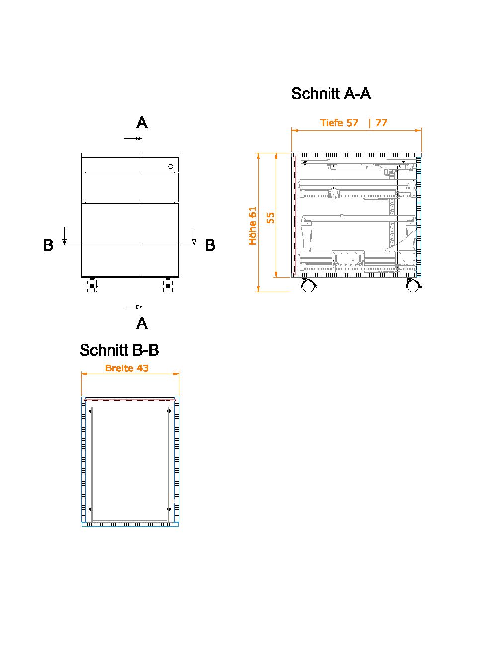 Rollcontainer mit 3 schubladen meine m belmanufaktur for Sideboard zeichnung