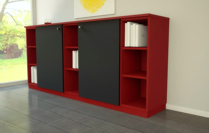rotes sideboard mit schwarzen t ren meine m belmanufaktur. Black Bedroom Furniture Sets. Home Design Ideas
