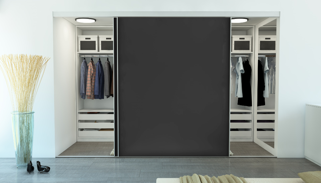 schiebetueren begehbarer kleiderschrank graphitgrau meine m belmanufaktur. Black Bedroom Furniture Sets. Home Design Ideas