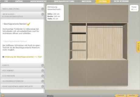 Schrank konfigurieren Garderobe