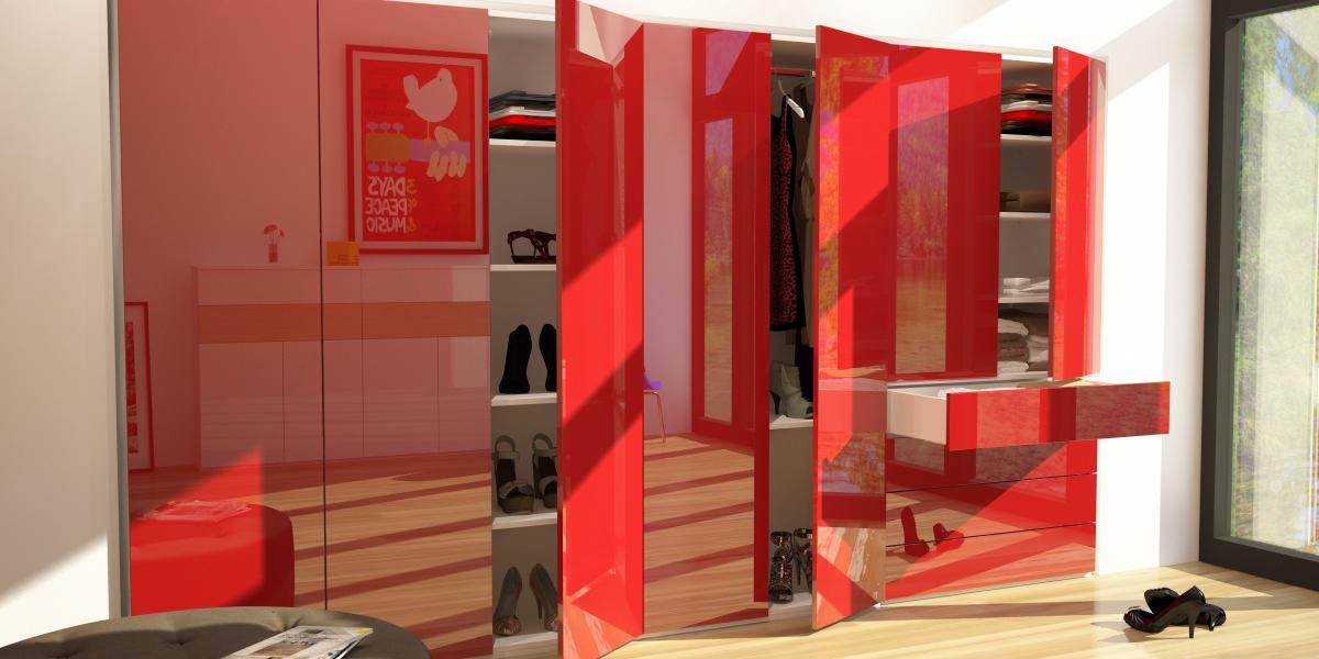 Schranksystem Schlafzimmer in Lack Rubinrot | meine möbelmanufaktur
