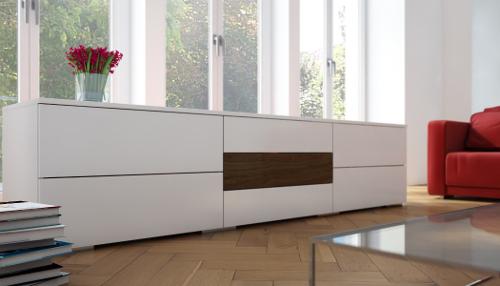 Schubladenkommode nach Maß in Weiß mit Holz